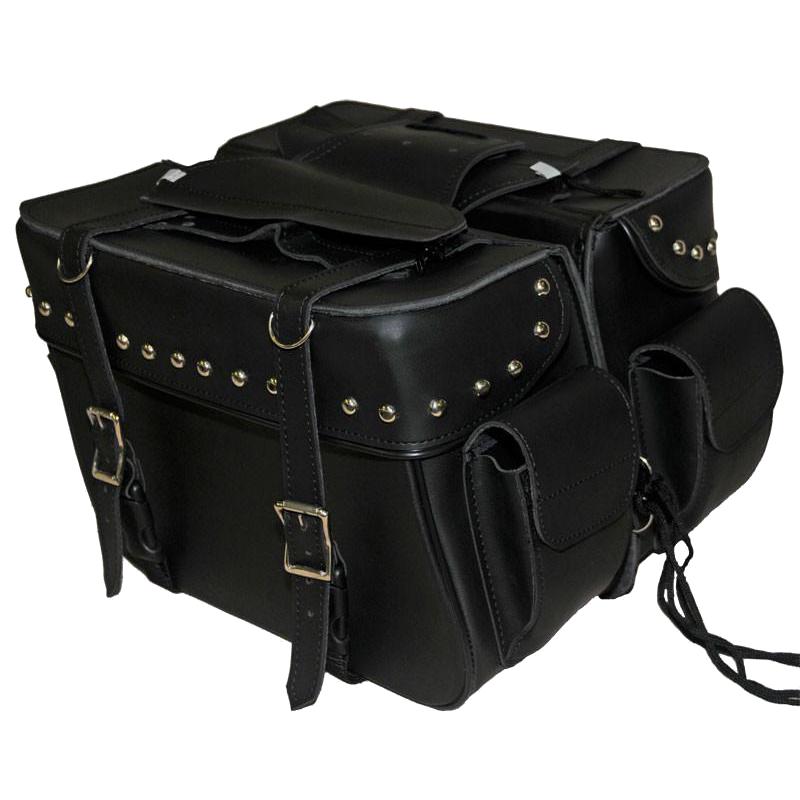 Vs211 Vance Leather Medium 2 Strap Studded Saddle Bag With Pockets Leather Saddle Bags Leather Motorcycle Saddlebags Leather