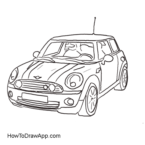Drawing Of The Mini Cooper Car