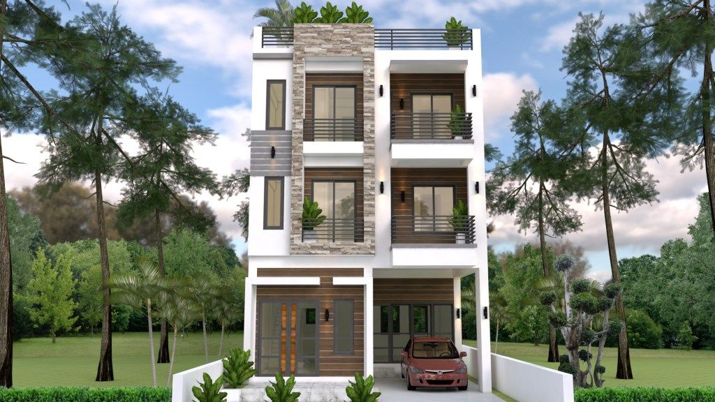 Home Design Plan 7x10m With 6 Bedrooms Samphoas Plan Narrow House Designs Home Design Plan Colonial House