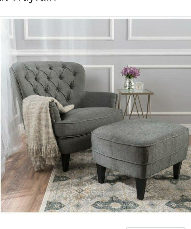Beautiful Tafton Tufted Fabric Club Chair With Ottoman By Christopher Knight Home  (Grey) (Polyester Blend)