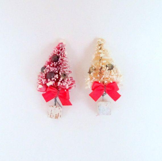 Small Mini Bottlebrush Christmas Tree Set of 2 by teresatudor, $700