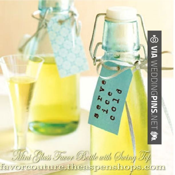 Love this! - Personalized Mini Glass Favor Bottle with Swing Top (Set of 12) Sale Price: $1.53 (15% off)  Our mini favor bottle has its own charisma and simply the sweet side of this special attraction is the many choices you will have filling it! Perfect for | CHECK OUT MORE GREAT REHEARSAL DINNER PICS AND IDEAS AT WEDDINGPINS.NET | #weddings #wedding #rehearsal #rehearsaldinner #bachelorparty #events #forweddings
