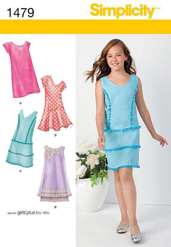 aee278ea8 GIRLS DRESS PATTERN! Make Shift Dress - Sundress   Sizes 8 to 16 or ...