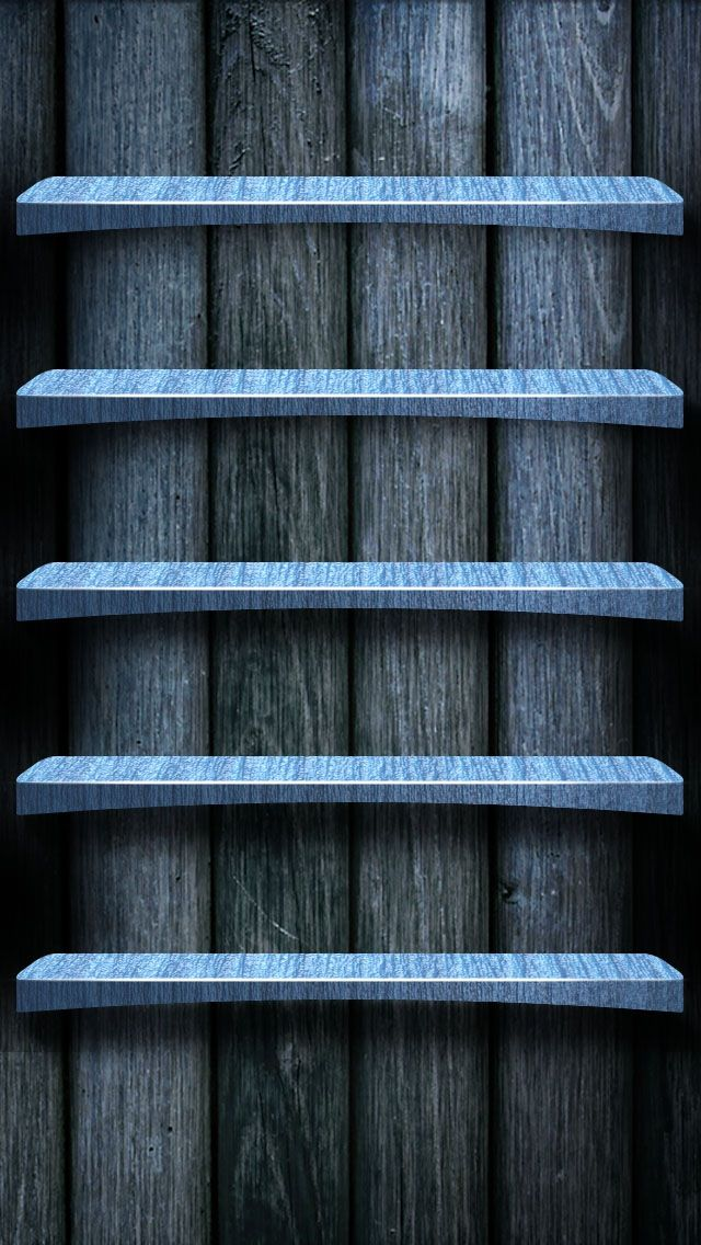 Tap And Get The Free App Shelves Homescreens Wooden Grey Blue