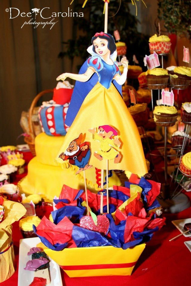 Snow white centerpiece theme it is