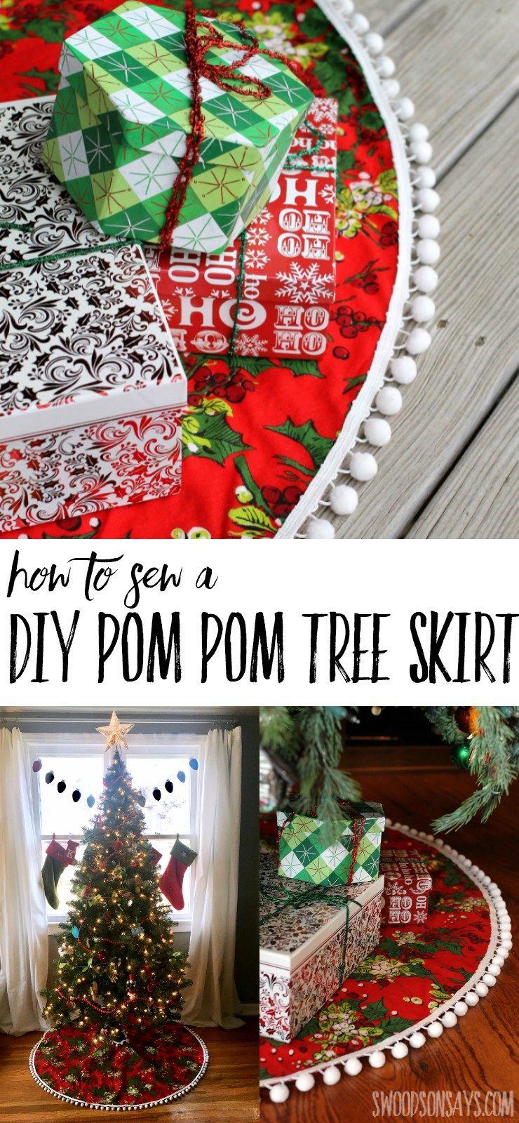 How To Sew A Diy Pom Pom Tree Skirt Pom Pom Tree Diy Pom Pom Christmas Diy