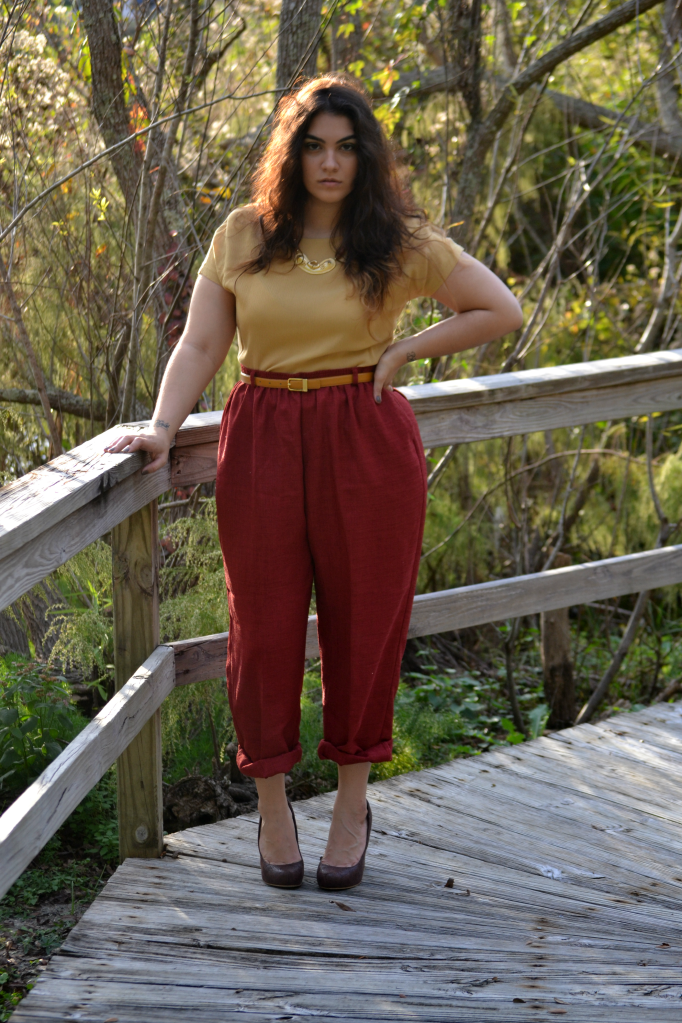 151c7488ff6ac mustard blouse - maroon pants - dark brown flats with purse. Nadia Aboulhosn  ...