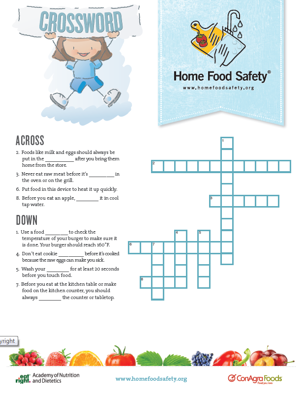 Food Safety Crossword Game Home Food Safety