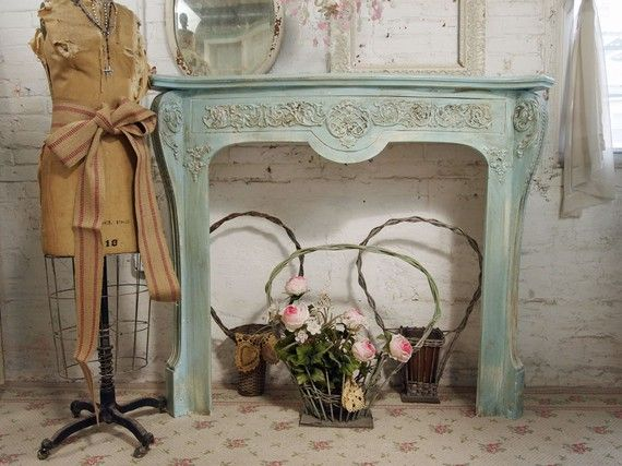 Vintage painted cottage aqua chic french fireplace mantel - Manteles shabby chic ...