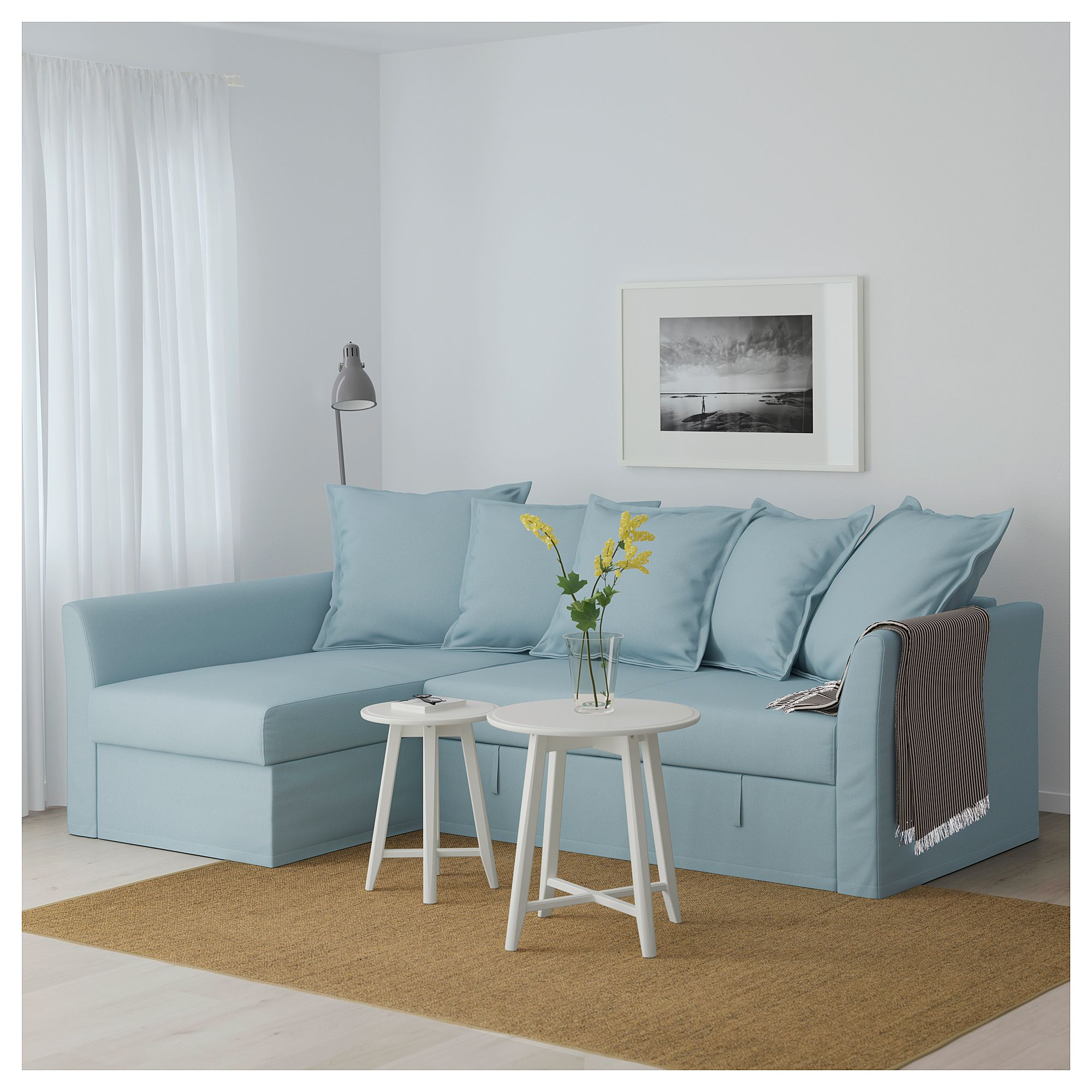 IKEA - HOLMSUND Corner sofa-bed Orrsta light blue | tiny ...