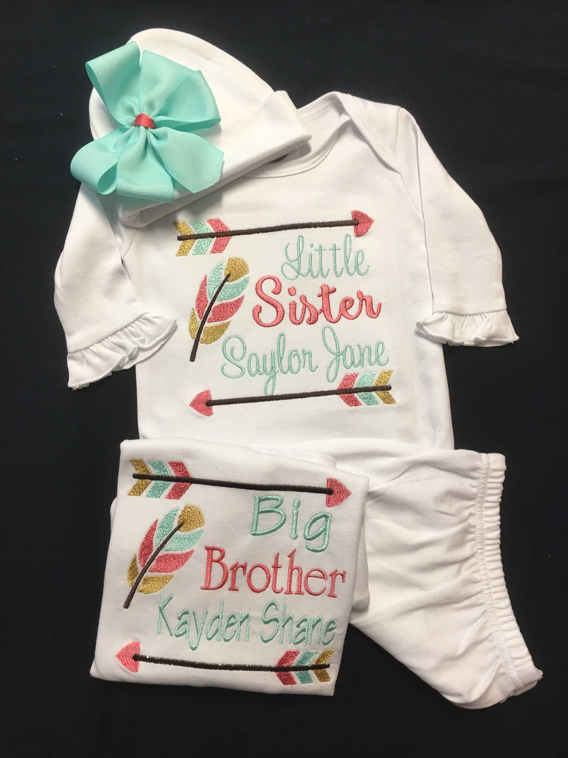 acaebfd0e9fc Matching Sibling Big Brother Little Sister Outfits Newborn Baby Girl ...