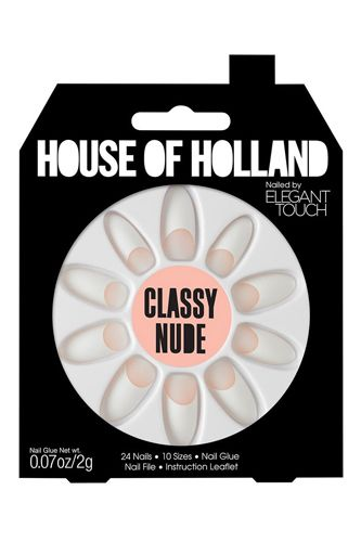 To save time, create the houndstooth look on press-on nails that you can apply and go — and wear again.House of Holland By Elegant Touch Classy Nude Nails, £7.99, available at Missguided.