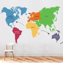 Vinilos infantiles mapamundi texturas.  world map sticker