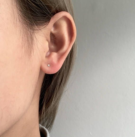 Tiny Diamond Earrings Nose Studs 1 2mm Sterling Silver