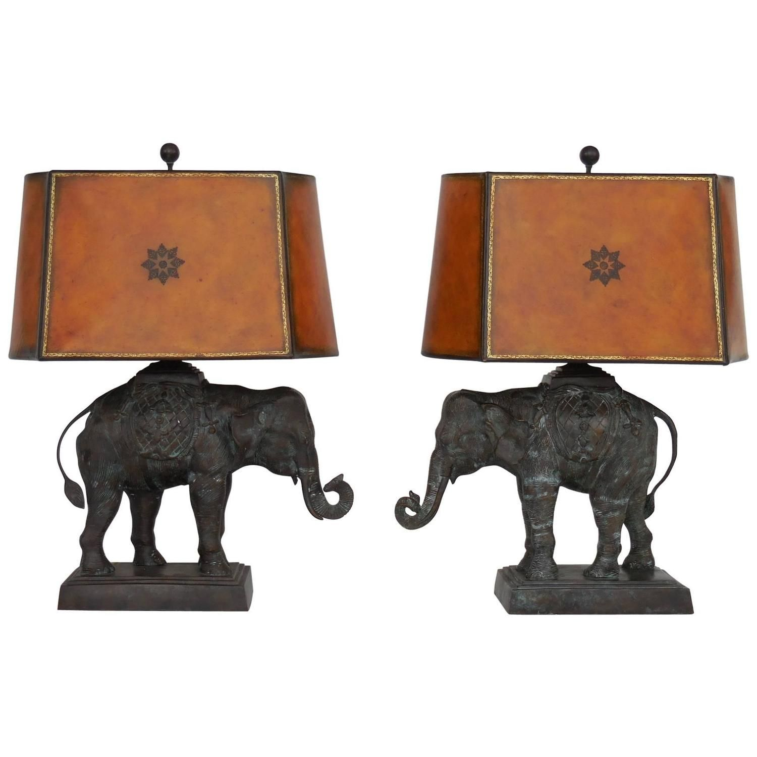 Pair Of Large Bronze Elephant Lamps By Maitland Smith