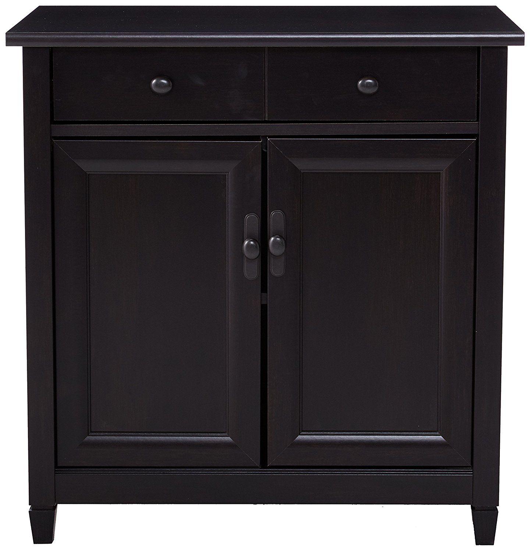 Sauder edge water utility cart free standing cabinet estate black finish