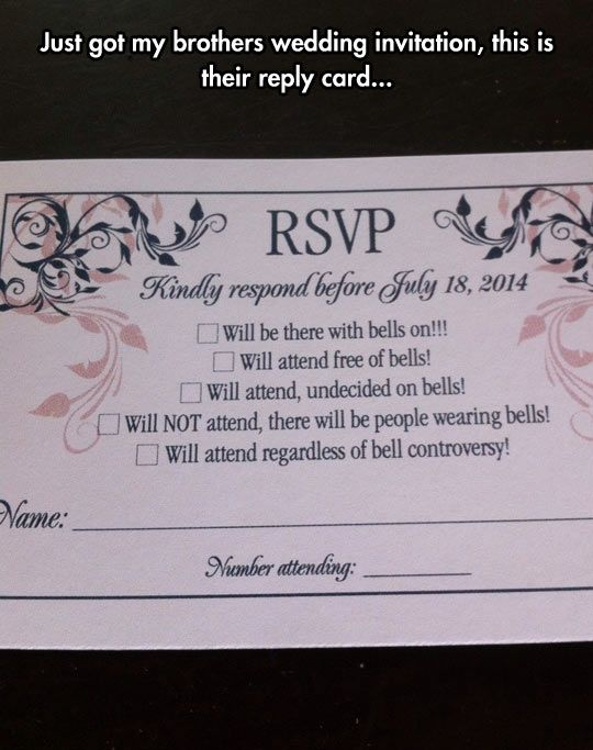 People With Bells Funny wedding invitations Funny weddings and