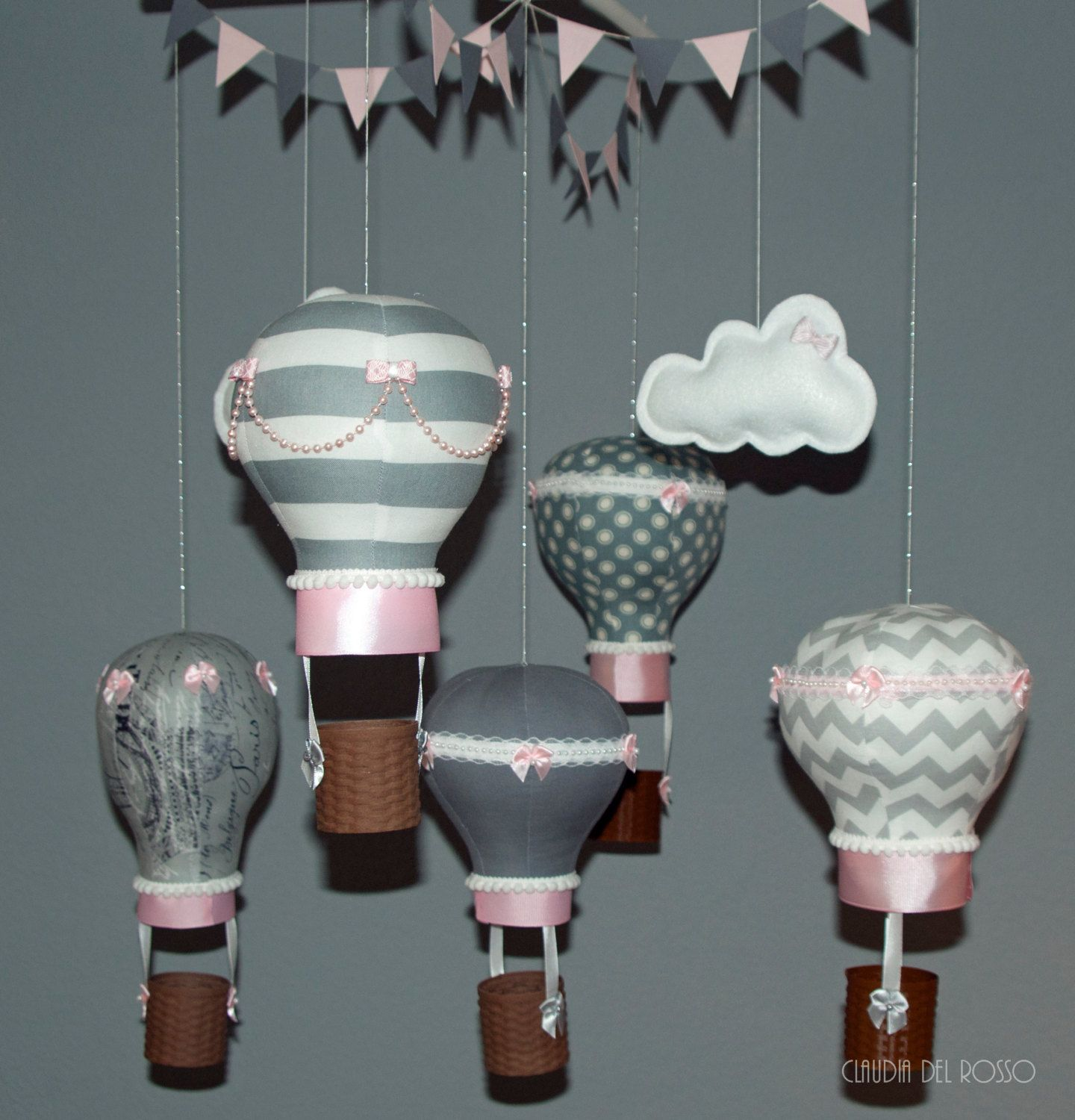 Baby Hot air balloon mobile by BlissfulKiss on Etsy Hot