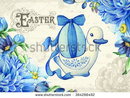 Easter Vintage Background Elegant Card Postcard Template For