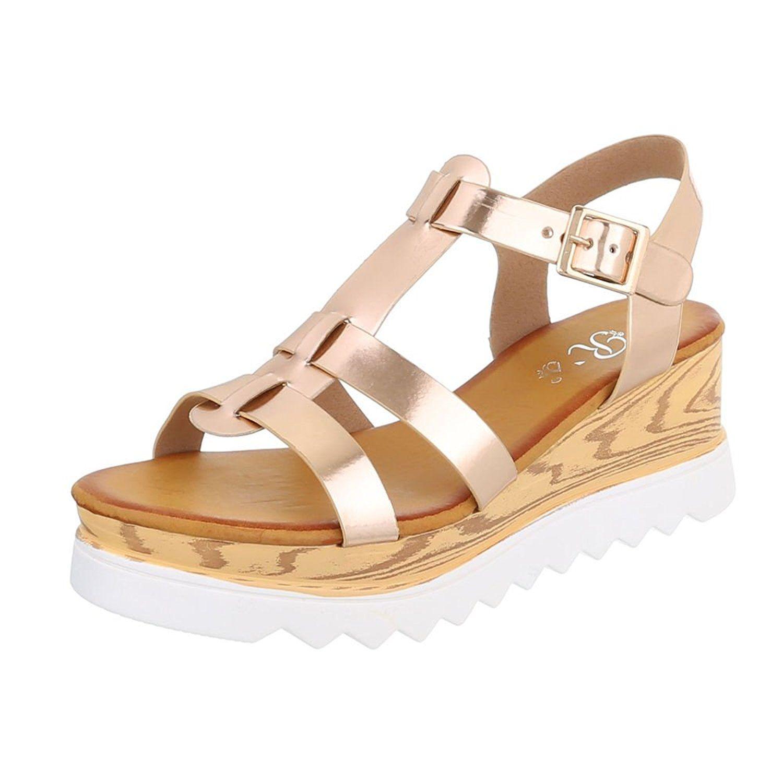 e046bdb0c5e839 Riemchensandalen Damenschuhe Knöchelriemchen Riemchen Schnalle Ital-Design  Sandalen   Sandaletten  Amazon.de