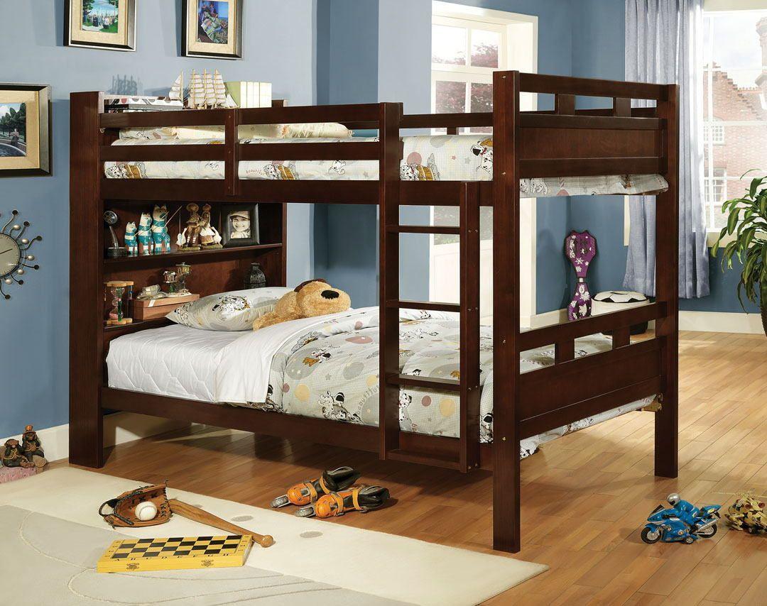Twin loft bedroom ideas  CMBKEX Fairfield dark walnut finish wood twin over twin bunk bed
