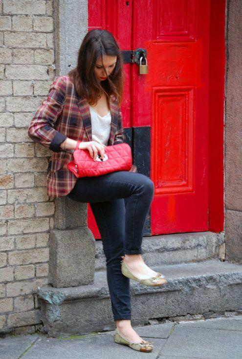 checked blazer  , Stradivarius en Blazers, Mango en Camisas / Blusas, Trucco en Bolsos, Zara en Pantalones
