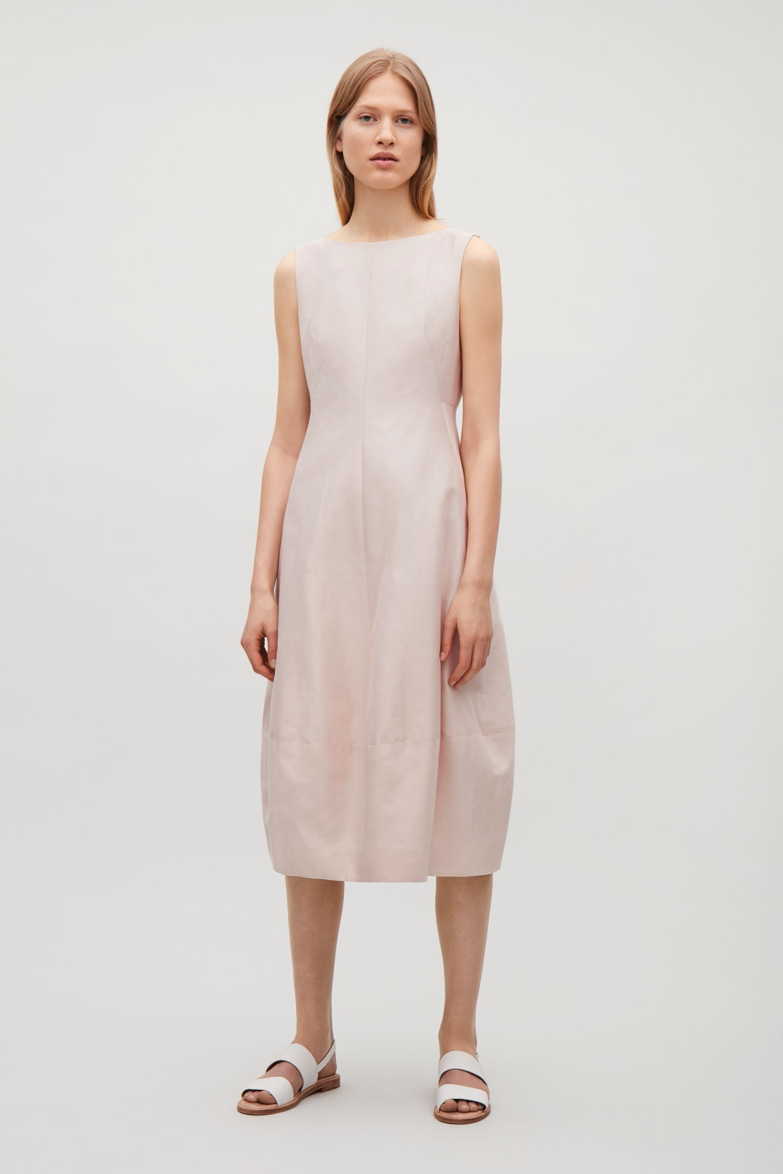 COS image 1 of Sleeveless dress with cocoon skirt in Biscuit | Style ...
