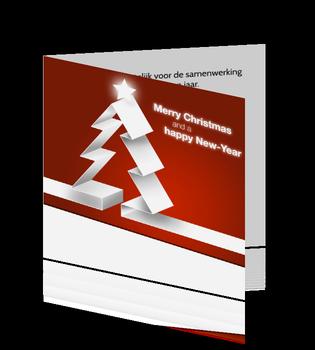 Zakelijke kerstkaart met rode achtergrond en witte kerstboom.