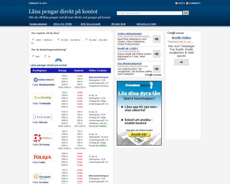låna pengar direkt på kontot snabbt