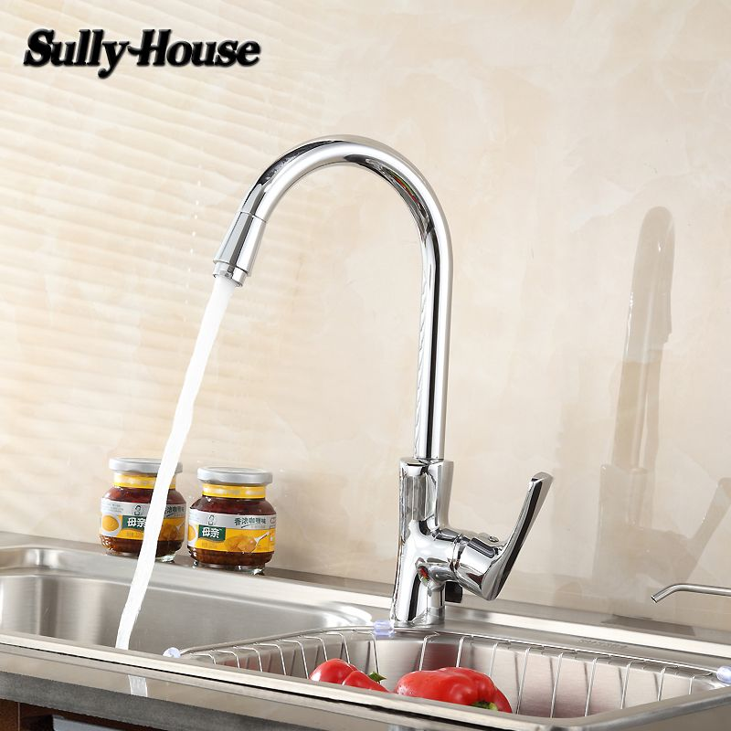 Sully House High Quality Brass Kitchen Sink Faucet Hot And Cold Water Single Hole Single Handle Faucets Trian Kitchen Sink Faucets Brass Kitchen Sink Faucets