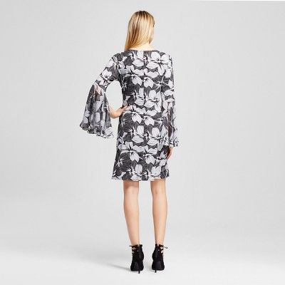 Women's Floral Printed Long Flutter Sleeve Dress - Black/White XL - Chiasso