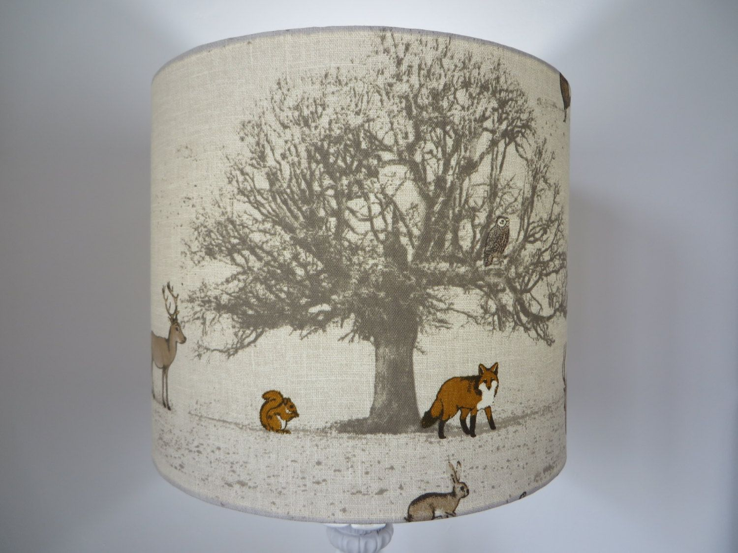 Drum lampshade tatton fabric british woodland brown orange beautiful drum lampshade tatton fabric woodland animal by loveyourlampshade on etsy aloadofball Images