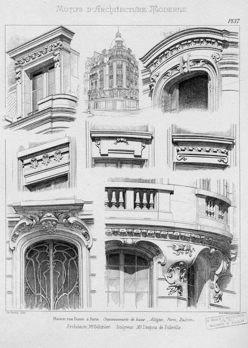 Motifs d\'architecture moderne | Noe, L. | Art nouveau | Dessin archi ...