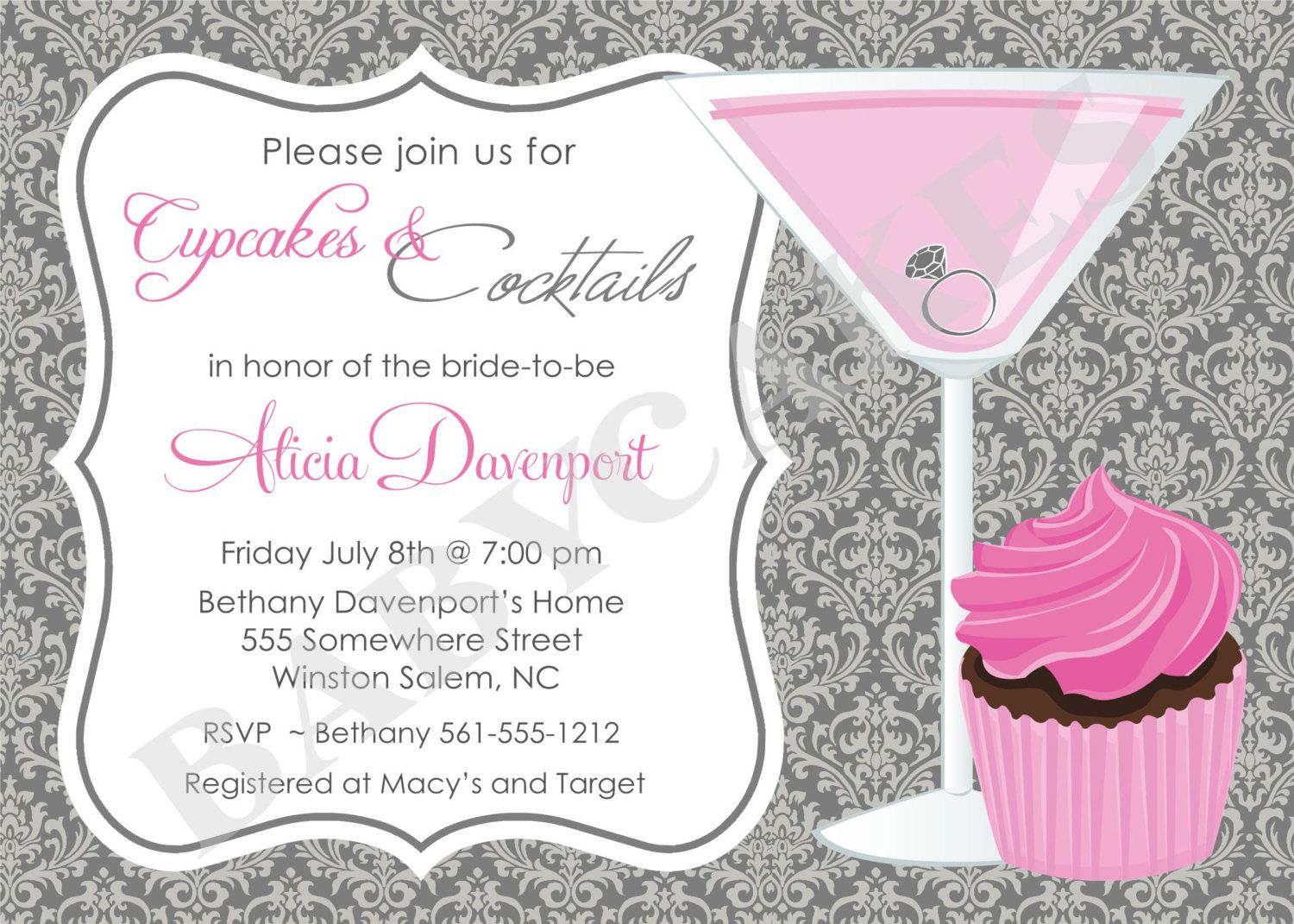 cupcakes and cocktails bridal shower invitation by jcbabycakes