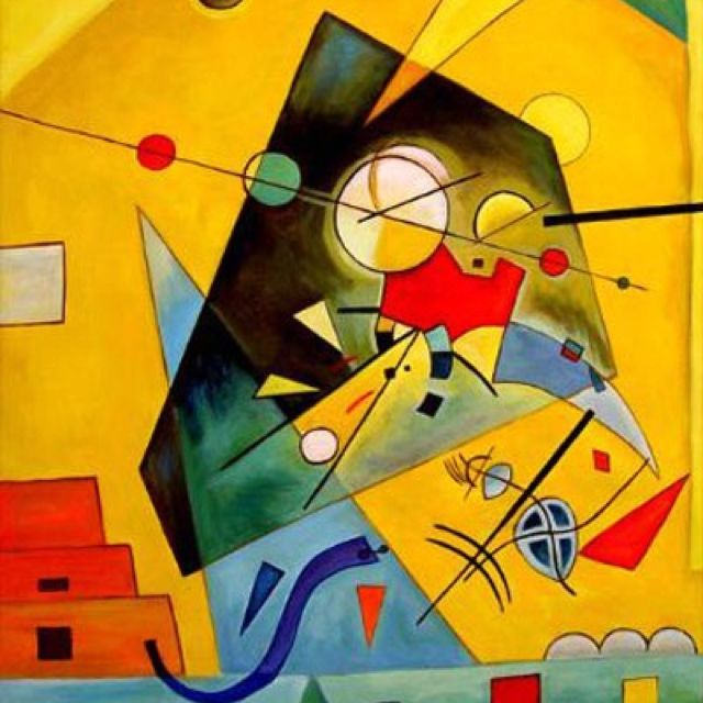 Kadinsky A unique style of his own..most his works portray colorful sprinkle party-like images and obscure glyph like designs