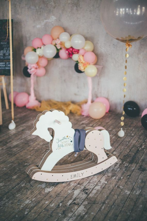 Baby Girl Rocking Horse Balloons Baby Girl Shower Decoration Balloons Pink Pastel Balloons New Baby Girl Horse Theme Balloons