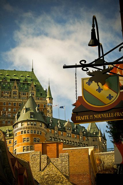 Château Frontenac, Québec. The Château Frontenac is a grand hotel in Quebec City, Quebec, Canada, which is operated as Fairmont Le Château Frontenac. It was designated a National Historic Site of Canada in 1980. (V)