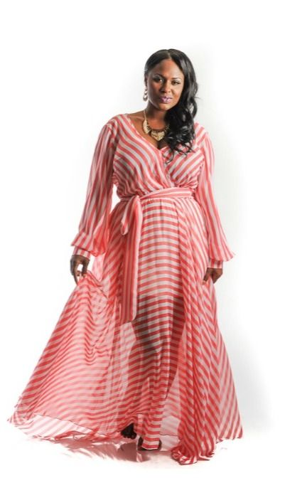 6a416170b New Plus Size Coral and White Stripe Chiffon Gown 1x 2x 3x Im Obsessed with  These Maxi Dresses from Chic and Curvy Boutique