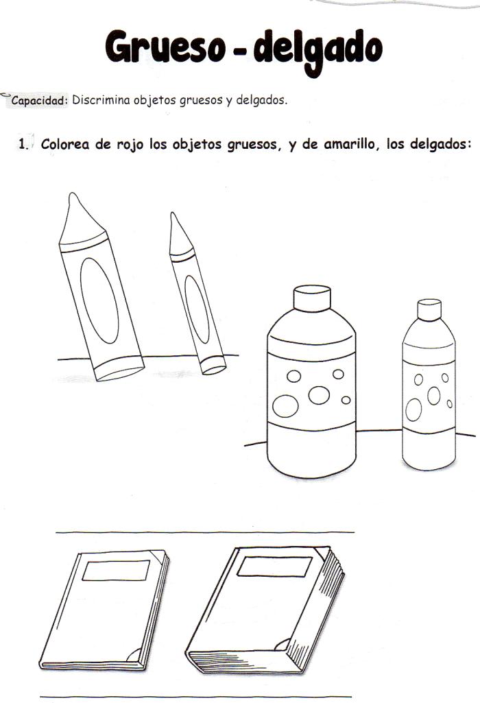 Ficha Imprimible De Matemáticas Para 5 Años Tema Grueso Delgado