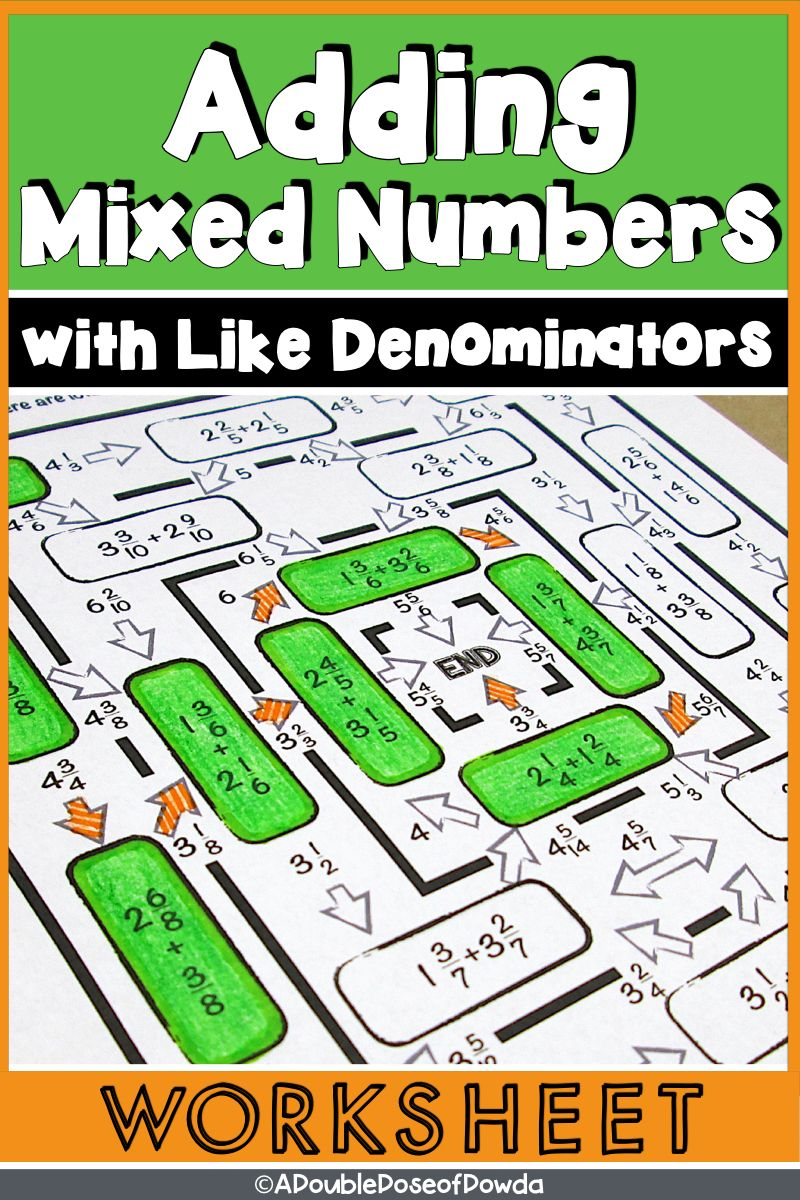Adding Mixed Numbers with Like Denominators Worksheet
