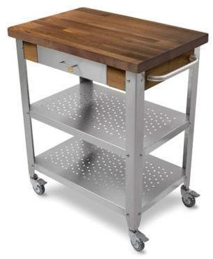John Boos Walnut Wood Top Kitchen Cart In Stainless Steel Kitchen Cart Kitchen Tops Microwave Cart