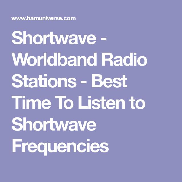 Shortwave - Worldband Radio Stations - Best Time To Listen