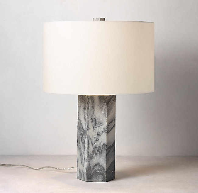 Blaine Hexagon Marble Table Lamp With Shade Multi Grey Table Lamp Lamp