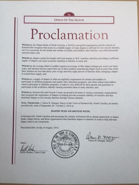 KERNERSVILLE, NC - Mayoral proclamation recognizing Diaper Need Awareness Week (Sep. 26 - Oct. 2, 2016) #diaperneed diaperneed.org