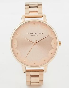ShopStyle(ショップスタイル): Burton Olivia Scalloped Edge Rose Gold Bracelet Watch - Rose gold