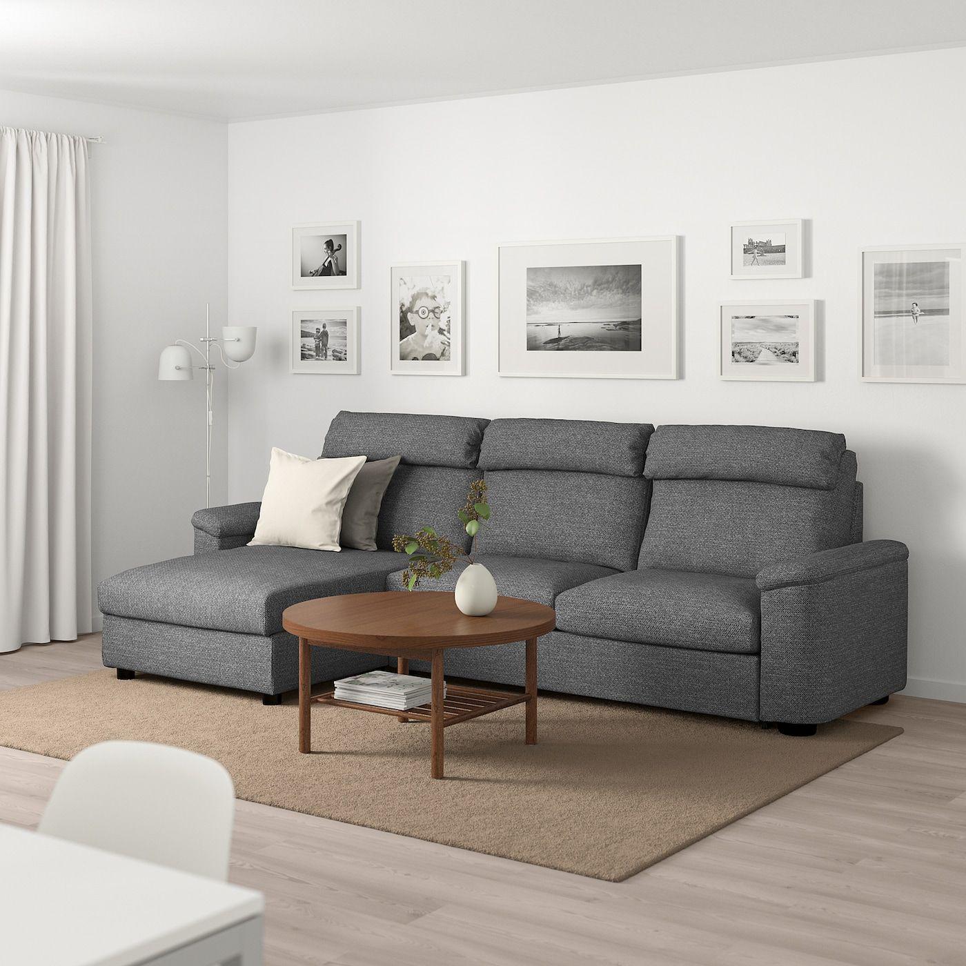 Lidhult 3er Bettsofa Mit Recamiere Lejde Grau Schwarz Ikea Deutschland In 2020 Bettsofa Recamiere Sofa