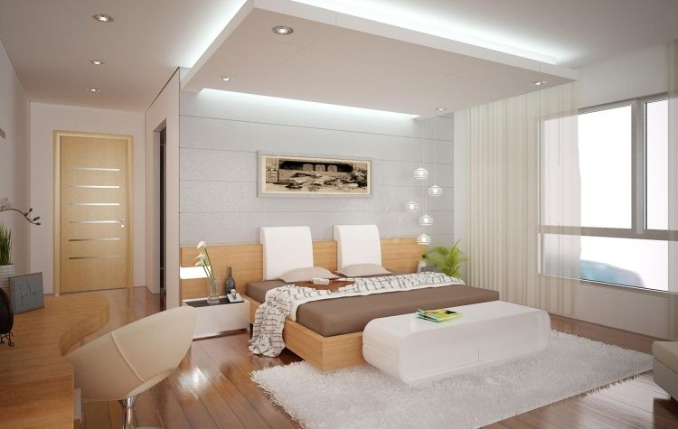 Schlafzimmer mit Angenehmer Beleuchtung durch die abgehängte Decke - schlafzimmer mit badezimmer