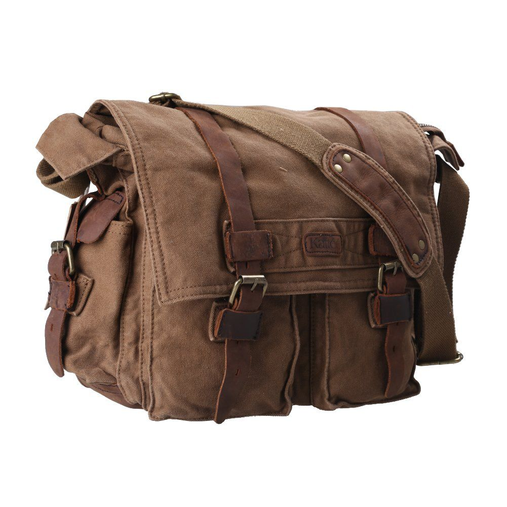 c4d20c27ca59 Amazon.com  Kattee Classic Military Canvas Shoulder Messenger Bag Leather  Straps Fit 16 inch laptop (Army Green)  Clothing