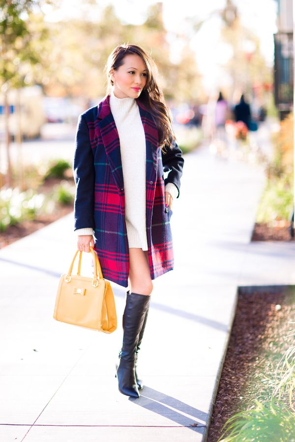cute winter outfits, long coat, sweater dress, gap, petite blog ...