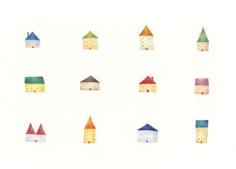 Colorful Houses Rili Picture Book Illustration Design 色とりどりの家 リリ 絵本 イラスト デザイン Illustration Colorful House イラスト 色 家